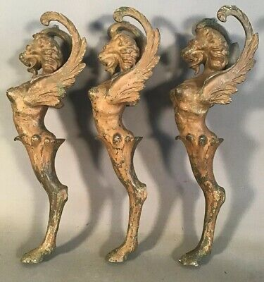 (3) Antique 19thC Victorian GOTHIC WINGED Nude GREEK SPHINX STATUE Lamp SALVAGE