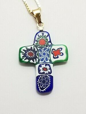 """Beautiful Gold over Sterling Silver .925  Italy Glass Cross Pendant Necklace 18"""""""