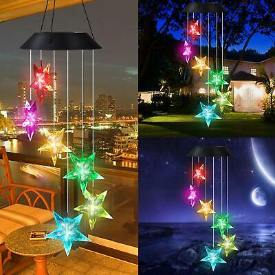 Solar Color Changing LED Wind Chimes Home Garden Decor Lights Star shape Lamp US