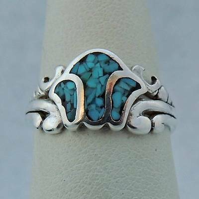 DAINTY VINTAGE Sterling Silver Estate HAND CRAFTED MOSAIC TURQUOISE RING size 6