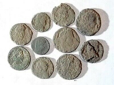 10 ANCIENT ROMAN COINS AE3 - Uncleaned and As Found! - Unique Lot 21723