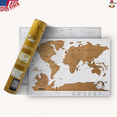 Luxury Scratch Off World Map Travel Away Poster Large Mini Trumpet Log Paper USA
