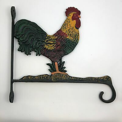Cast Iron Chicken Rooster Plant Hanger Wall Hook Country Home Decor