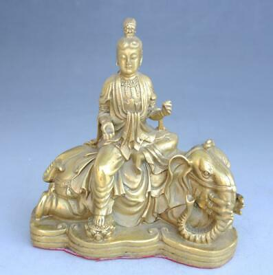 Chinese Old copper hand-carved propitious Kwan-yin sit Elephant Statue e01