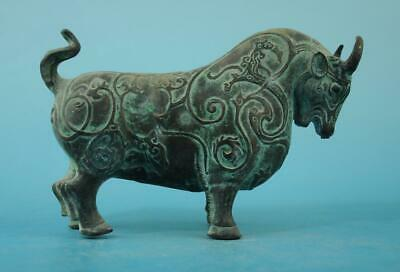 Chinese old fengshui copper hand-carved zoology cow statue e02