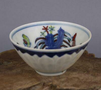chinese old porcelain hand-painted pastel chicken grain cup /chenghua mark 06673