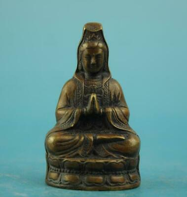 chinese old fengshui copper hand-carved guanyin Buddha statue b01
