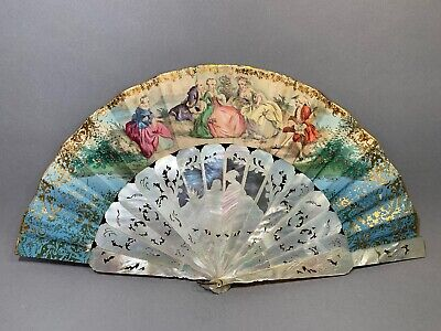 Antique Victorian Handmade Mother Of Pearl Carved Fan