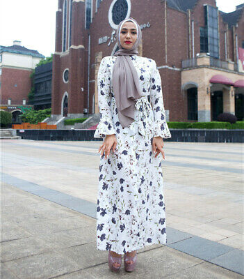 Fashion Women Floral Long Dress Jilbab Vintage Cocktail Maxi Kaftan Lady Robe L