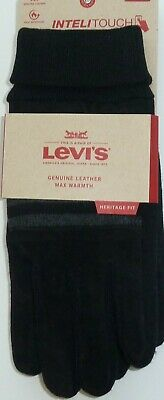 Levis Genuine Leather Mens Gloves Intelitouch Touchscreen New Black Large L XL