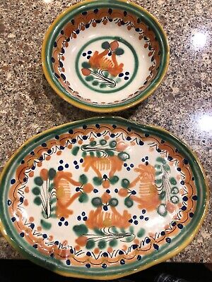 Uriarte Talavera Puebla Mexico BOWL OVAL SERVER Hand Made Pottery Handpainted