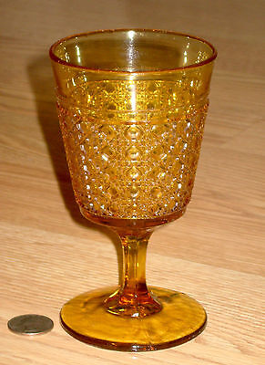 antique EAPG WATER GOBLET wine stem AMBER CANE McKee & Bros. Glass 1893 HOBNAIL