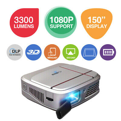 HD 3D DLP Projector WiFi Movie Home Theater Wireless Miracast Mirro Screen HDMI