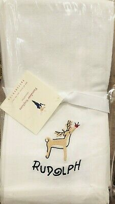 Pottery Barn Santa's Reindeer Dinner Napkins Rudolph Set Of 9 Christmas 20 Decor