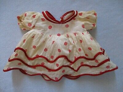 Vintage Shirley Temple Stand Up and Cheer Dress Red Dots, Composition Doll 1930s