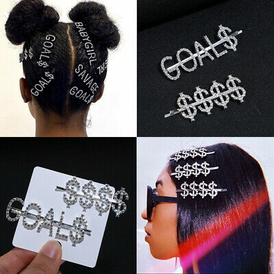 Fashion Women Rhinestone Hairclip Crystal Letters Words Hairpins Slide Barrettes