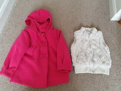 Girl clothes bundle age 2-3 - hooded wool style coat & fur gilet