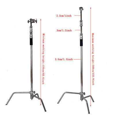 """USA Heavy Duty Light Stand with Detachable Base 60""""-130"""" Adjustable C Stand hot"""