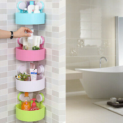 Bathroom Corner Storage Shower Rack Shelf Organiser Basket Tidy With Suction .