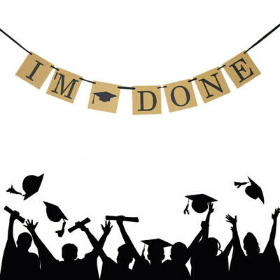 """""""I'm Done""""Hanging 118.11"""" Bunting Garland Graduation Cap Party Banner PhotoProp."""