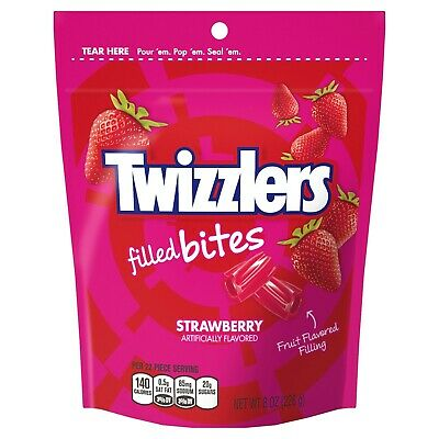 ( 5 Pack ) Twizzlers, Filled Bites Strawberry Flavor Chewy Candy, 8 Oz.