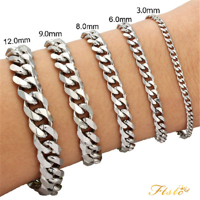 """3/6/9/12/15mm Mens Chain Curb Link Silver Tone Stainless Steel Bracelet 7"""" 8"""" 9"""""""