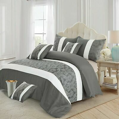 Grey White Faux Silk Jacquard Bedspread Double King Bedding Set With Pillowcases