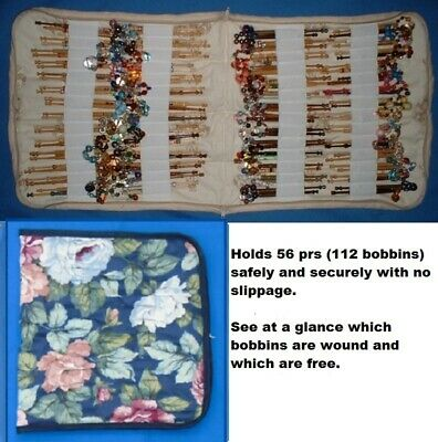 Padded Zip Bobbin Bag Holds 56 Prs Safely & Securely  'Pink Roses' Pattern