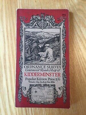 1921 Ordnance Survey One Inch Contoured Road Cloth Map 71 Kidderminster