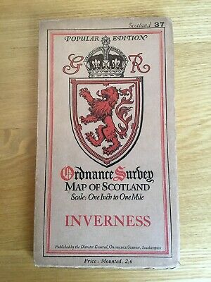 1929 Ordnance Survey One Inch Popular Edition Cloth Map 37 Inverness