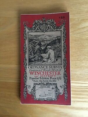 1929 Ordnance Survey One Inch Contoured Road Map 123 Winchester And District