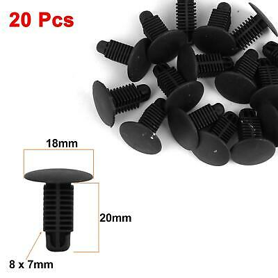 20Pcs 8 x 7mm Black Plastic Rivets Fender Trunk Retainer Fastener Clip for Car