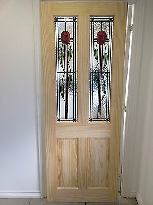 ( Brand New ) Rennie mackintosh rose Stained Glass Internal Door (Clear Pine)