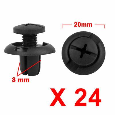 24Pcs 8mm Black Plastic Rivets Push Type Trunk Retainer Fastener Clip for Toyota