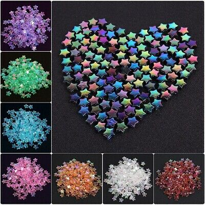 100pcs Loose Glass Crystal Star Shaped Spacer Bead For Jewelry DIY Making 4X11MM