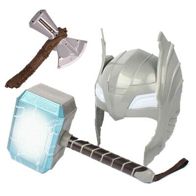 Avengers LED Glowing Sounds Thor Hammer Axe Helmet Mask Kids Cosplay Toys US
