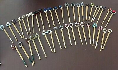 42 Wooden Lacemaking Lace Bobbins With Beaded Spangles