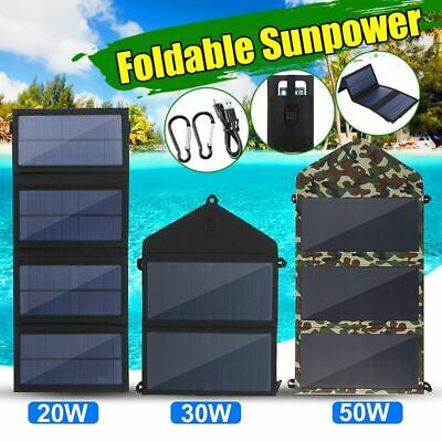 50W Foldable Solar Panel Charger DC5V USB Folding Power Bank For Outdoor Camping
