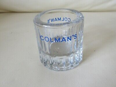 Vintage Glass Colman's English Mustard Pot with Colmans in blue lettering