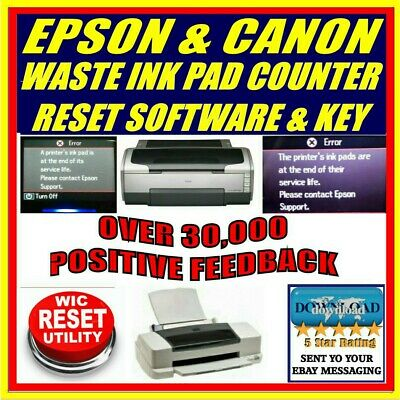 Epson & Canon Printer Waste Ink Pad Counter Reset + Key Download Most Models New