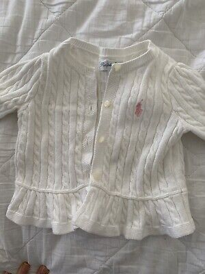 Baby Girls Ralph Lauren White Cardigan Cable Knit Size 6 Month Excellent Cond