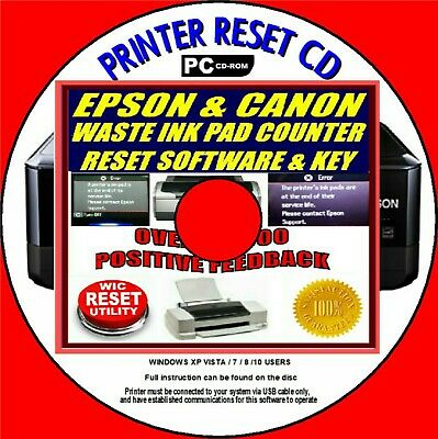 Epson & Canon Printer Waste Ink Pad Counter Reset & Key Px Sx Xp Bx Cx On Cd Rom