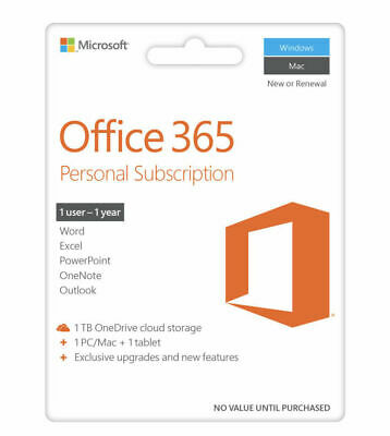 Microsoft Office 365 Personal - 1 User - 1 Year Subscription - 1 PC or MAC