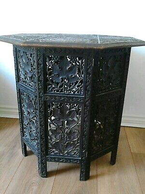 Antique Indian carved wooden occasional table c1900