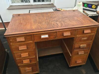 Vintage Industrial Antique  Collectors Apothecary Counter / Desk - 12  Drawers