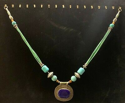 Tibetan Chinese Lapis Lazuli Turquoise Jade Amulet Pendant Necklace Tribal Early