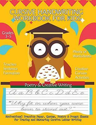 Cursive Handwriting Workbook For Kids : Motivational  Practice Paper, Quotes, ,