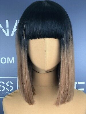Synthetic Lace Front Wig Straight Hair Bob Liso Black Brown With Bangs 12 Inches
