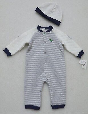 LITTLE ME BABY BOY'S ONE PIECE LONG SLEEVE ROMPER with HAT DINOSAUR GRAY BLUE