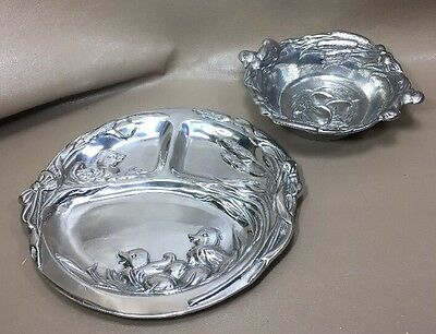 Arthur Court Baby Bowl And Divided Plate  Ducks